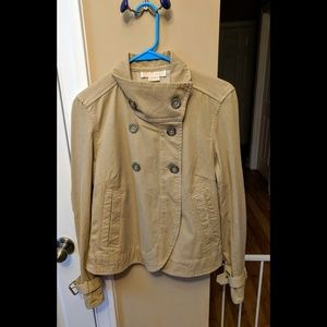 EUC Michael Kors Tan Metal Hardware Flare Jacket